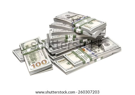 Dollars stack over white background - stock photo