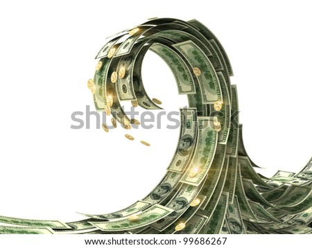 Dollars wave isolated on white - stock photo