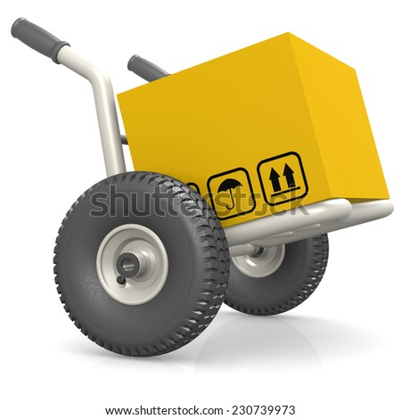 Dolly deliver package - stock photo