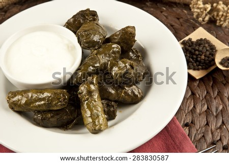 dolma, stuffed grape leaves in a bowl, turkish and greek cuisine with yoghurt - stock photo