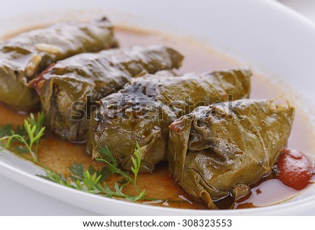 Dolma,Stuffed Grape Leaves with Meat and Rice - stock photo