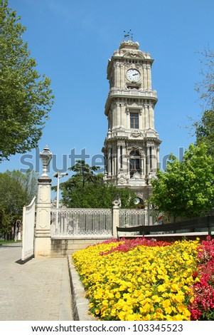 Dolmabahce Palace Clock Tower in Istanbul, Turkey - stock photo
