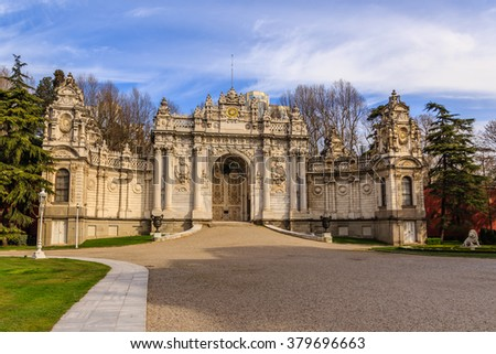 Dolmabahce palace in Istanbul, Turkey, baroque architecture - stock photo