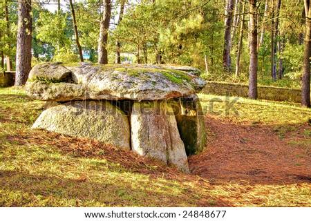 dolmenin tordoia, galicia.Old construcción.3000 years old. - stock photo