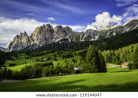 Dolomite mountains near Cortina D'ampezzo, Italy - stock photo