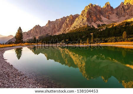 Dolomites Group Cristallo - Little pond in Val Padeon near Cortina d Ampezzo. - stock photo