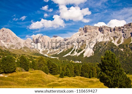 Dolomites in late summer - stock photo