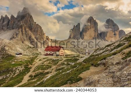 Dolomites mountain panorama and Locatelli Refuge,Tre Cime Di Lavaredo,South Tyrol,Italy,Europe - stock photo