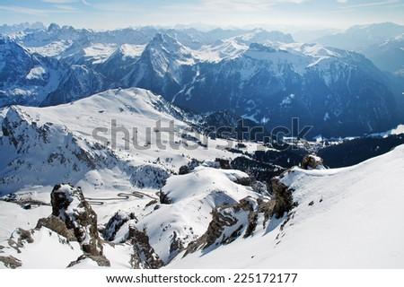 Dolomites mountains at winter, ski resort in Italy - stock photo