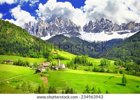 Dolomites - wonderland in Alps - stock photo