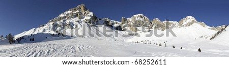 Dolomiti landscape from Rifugio Fuciade - stock photo