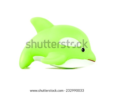 dolphin toy Isolated on white background - stock photo