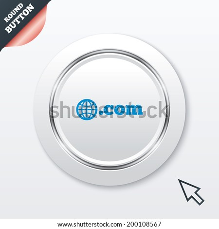 Domain COM sign icon. Top-level internet domain symbol with globe. White button with metallic line. Modern UI website button with mouse cursor pointer. - stock photo