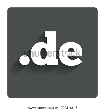 Domain DE sign icon. Top-level internet domain symbol. Gray flat button with shadow. Modern UI website navigation. - stock photo