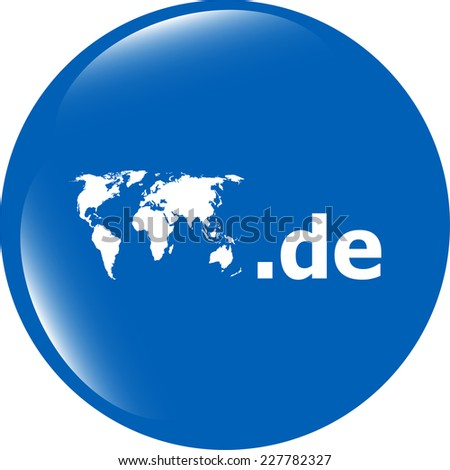 Domain DE sign icon. Top-level internet domain symbol with world map - stock photo