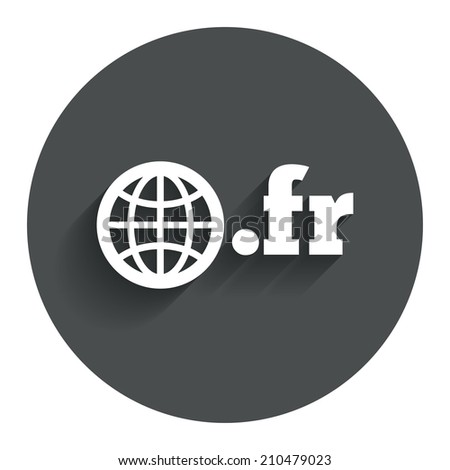 Domain FR sign icon. Top-level internet domain symbol with globe. Circle flat button with shadow. Modern UI website navigation. - stock photo