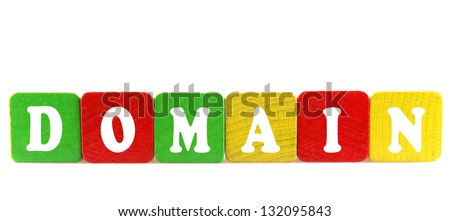 domain - isolated text in wooden building blocks - stock photo
