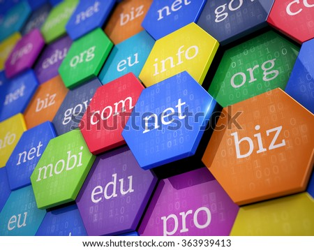 Domain names - internet and web telecommunication concept - stock photo