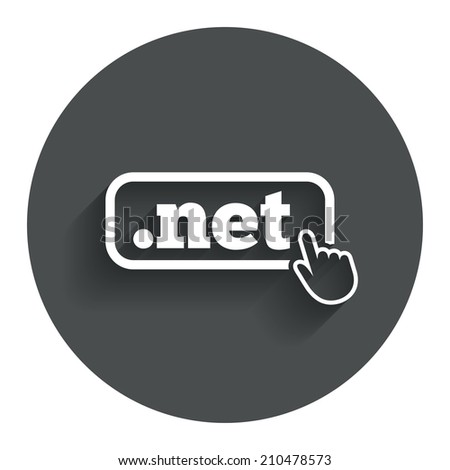 Domain NET sign icon. Top-level internet domain symbol with hand pointer. Circle flat button with shadow. Modern UI website navigation. - stock photo