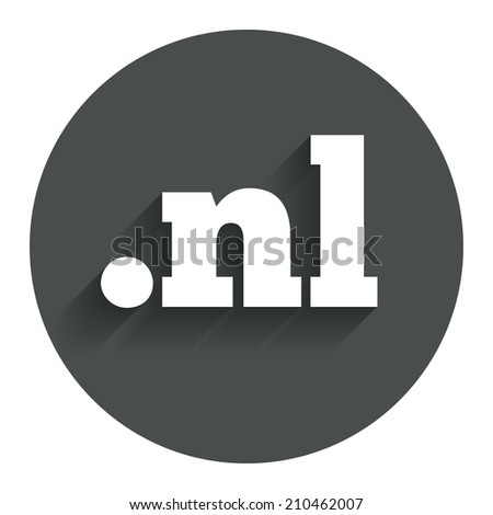 Domain NL sign icon. Top-level internet domain symbol. Circle flat button with shadow. Modern UI website navigation. - stock photo