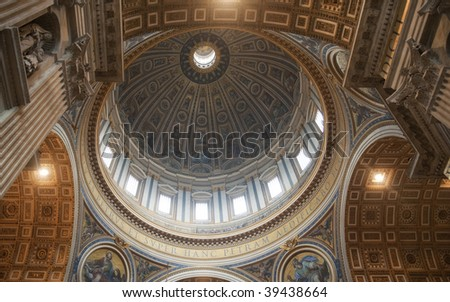 Dome and Ceiling of St Peter's Basilica, Vatican City, Rome, Italy - stock photo