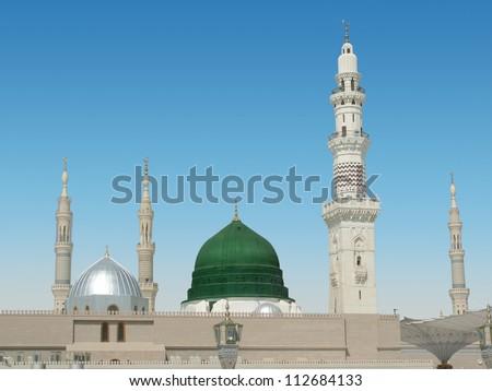 Dome and minarets of masjid nabvi - stock photo