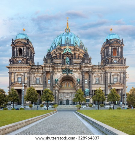 Dome cathedral in Berlin, the largest church in the city, vital center for the Protestant church of Germany - stock photo