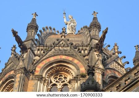 Dome of Chhatrapati Shivaji Terminus (Victoria Terminus) of Mumbai - stock photo