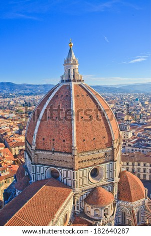 Dome of famous Duomo Cathedral and Panorama view of old town Florence, Italy  - stock photo