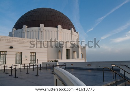 Dome of Griffith Observatory in Los Angeles, California, at Dusk. - stock photo