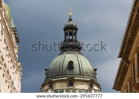 Dome of Saint Stephen's Basilica in Budapest - stock photo
