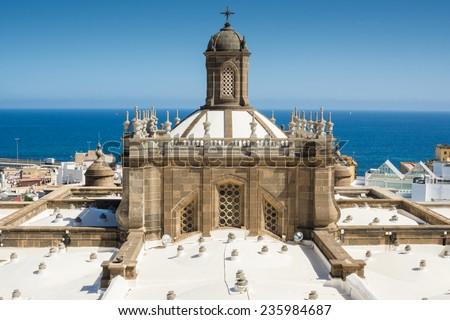 Dome of Santa Ana Cathedral in Las Palmas de Gran Canaria, Spain - stock photo