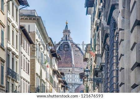 Dome of the Basilica di Santa Maria del Fiore (Basilica of Saint Mary of the Flower), the main church of Florence, Italy - stock photo