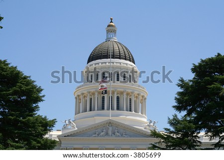 Dome of the California State Capitol Building - stock photo