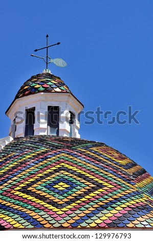 Dome of the church of San Michele, symbol of the of Alghero, Sardinia, Italy - stock photo
