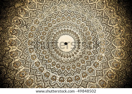 Dome of the mosque, oriental ornaments from Samarkand, Uzbekistan - stock photo