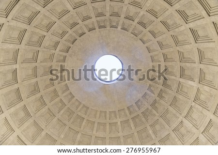 Dome of the Pantheon Inside view.Rome.Italy. - stock photo