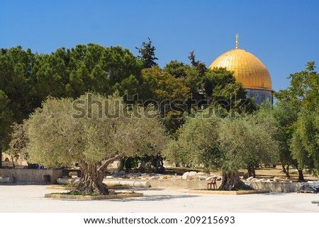 Dome of the rock (Women's mosque) - holy place for Muslims, in the center of Jerusalem, Israel - stock photo