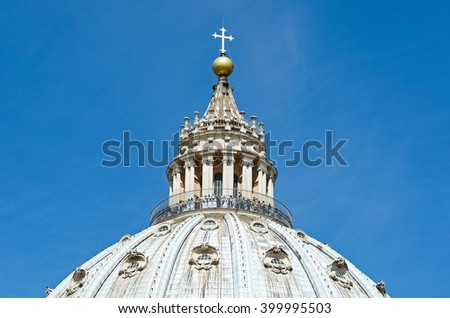 Dome of the Saint Peter photographed during summertime in Rome, Italy - stock photo