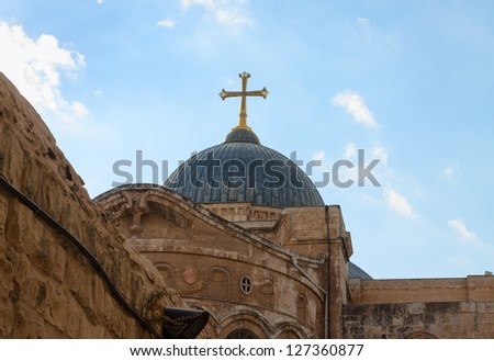 Dome on Church of the Holy Sepulchre in Jerusalem, Israel - stock photo