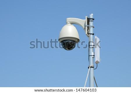 Dome Shape Outdoor CCTV Camera - stock photo