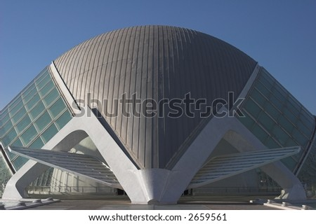 Dome shaped building. Modern european architecture. - stock photo
