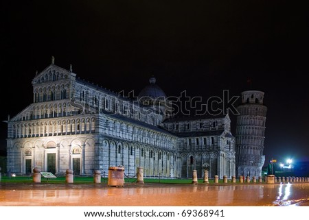 dome square in pisa at night - stock photo