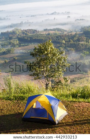 Dome tent camping at Khao Takhian Ngo View Point at Khao-kho Phetchabun,Thailand - stock photo