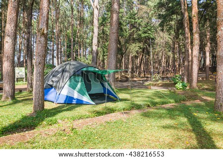 Dome tents camping of tourist in forest camping site - stock photo