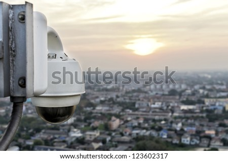 dome type outdoor cctv camera to secure nonthaburi province - stock photo