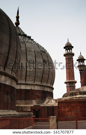 Domes of a mosque, Jama Masjid, Delhi, India - stock photo