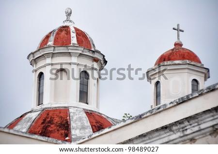 Domes of the cathedral of San Juan old san juan (Puerto Rico) - stock photo