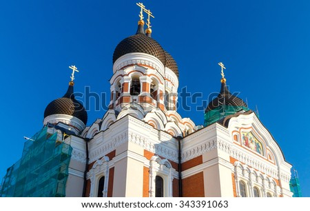 Domes with crosses on Alexander Nevsky Cathedral in Tallinn. - stock photo