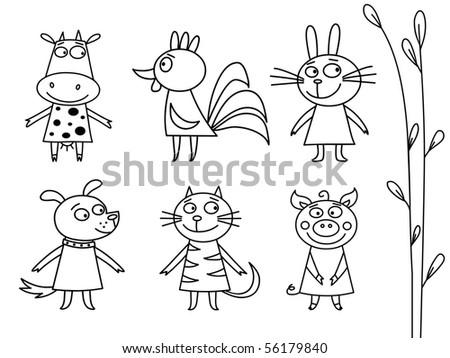Domestic Animals Contour - raster - stock photo